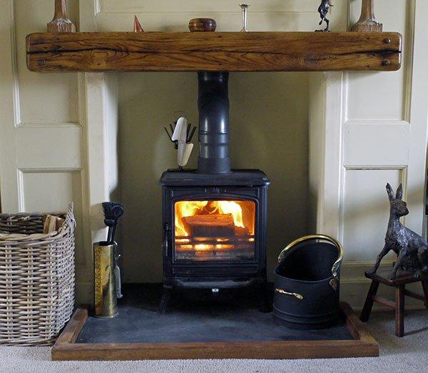 Pegged oak fireplace beams