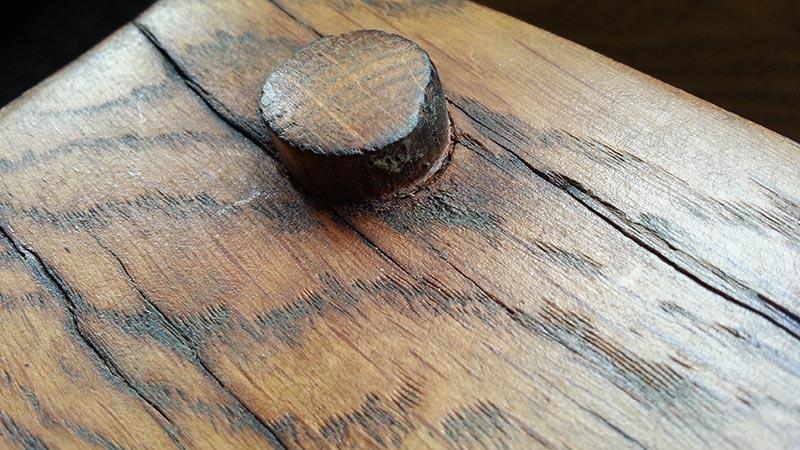 pegged oak fireplace beam